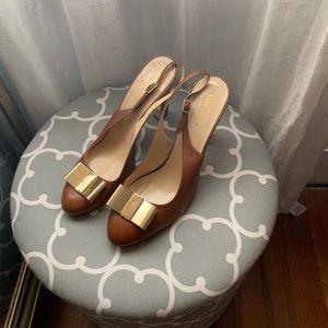Kate Spade sling back brown leather heels